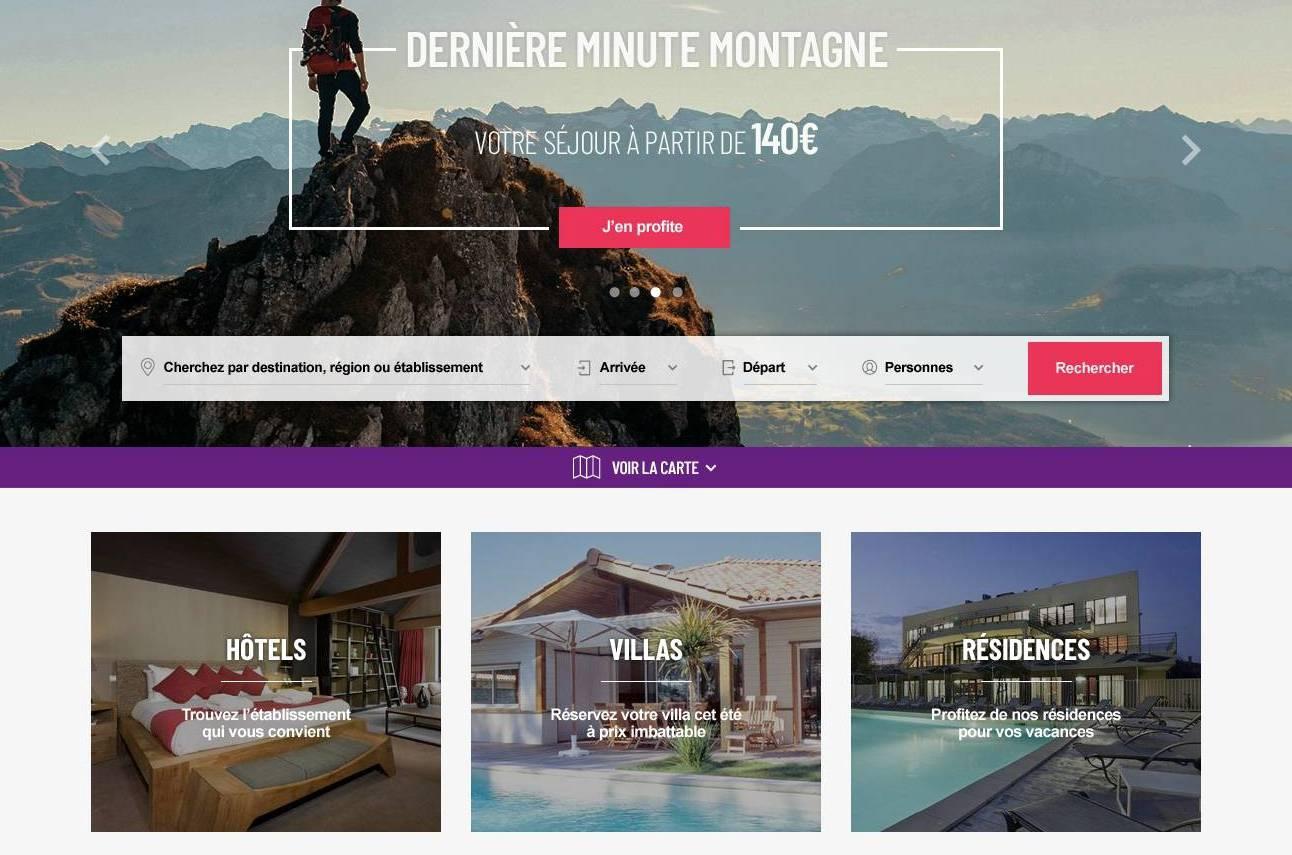 Refonte graphique et technique site internet Madame Vacances (tourisme)