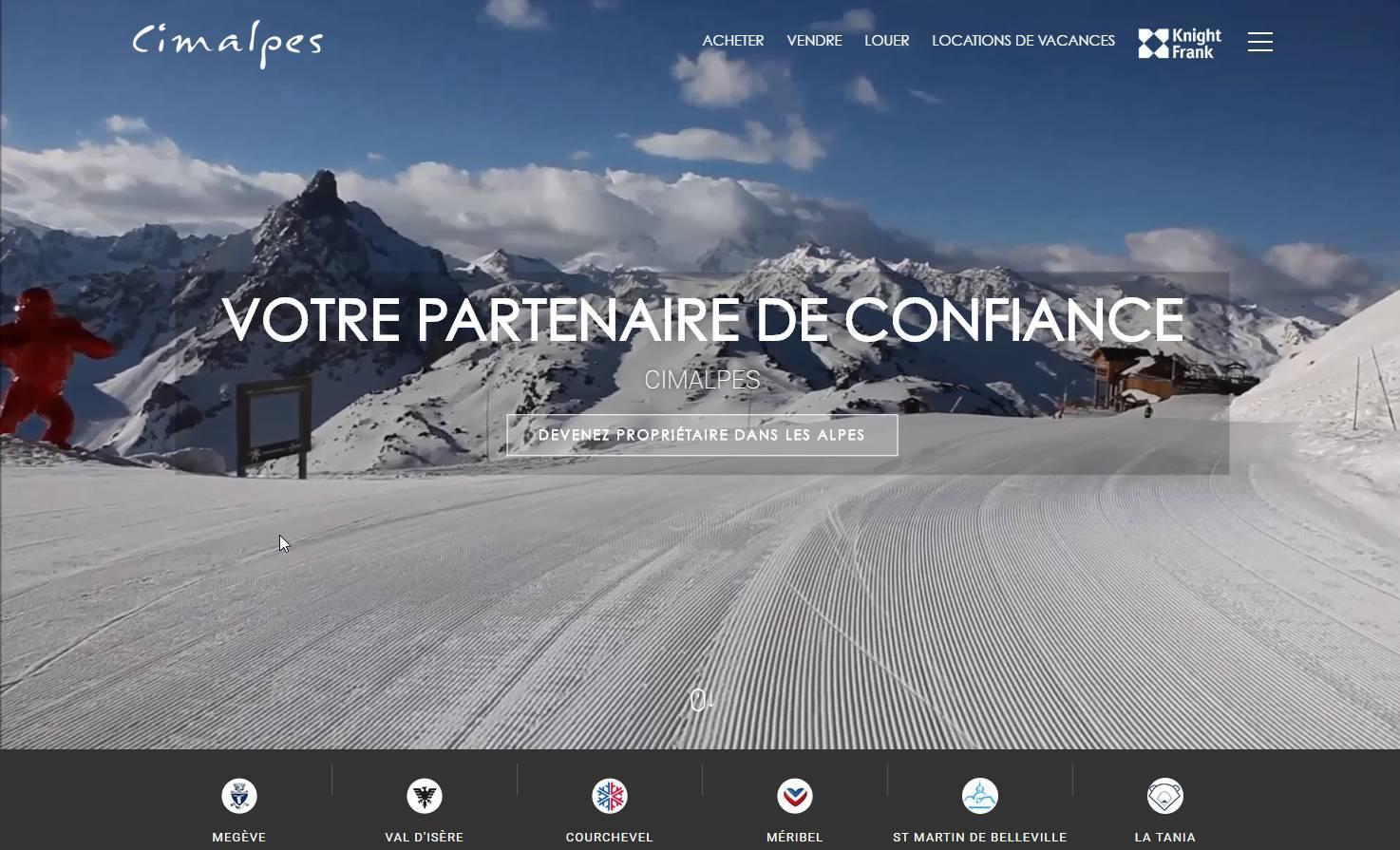 Refonte graphique et technique site internet Tourisme haut de gamme avec Cimalpes